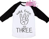 3rd Birthday Shirt - I'm Three - Wild Free and Three Shirt - Third Birthday - Happy Birthday - Toddler Birthday Shirt - Birthday Raglan