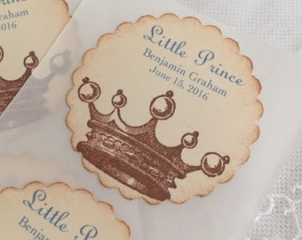 Prince Crown Stickers Baby Shower Birthday Envelope Seals Blue Set of 10