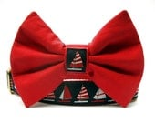 Nautical Sailboats Bow Tie Dog Collar in Navy Blue Red and White with Brass Hardware