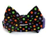 Halloween Bow Tie Dog Collar - Dots on Black