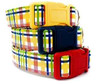 Summer Plaid Dog Collar in Yellow Red Navy Blue and Green