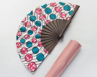 African Fashion fan with leather case - Ife - Cyan Magenta dots - Bridal hand fan made of Ankara