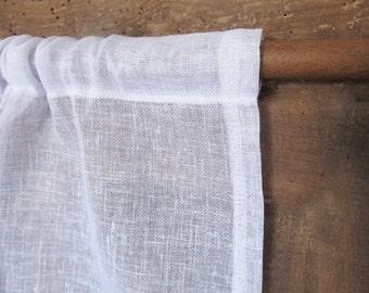 Sheer White Curtain Panel, Linen Window Curtain, Sheer Bedroom Drapery, New Home Decor