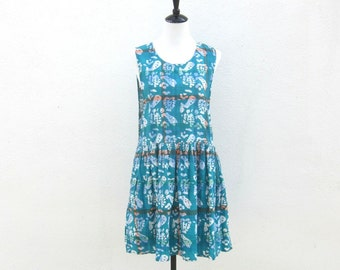 SALE Summer Dress Drop Waist Teal Cotton Baby Doll Dress Ladies Size S
