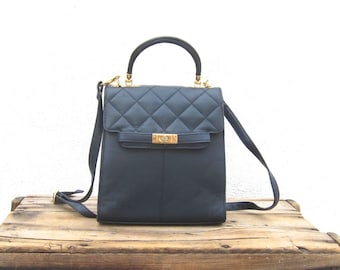 Vintage Navy Quilted Leather Kelly Bag Purse