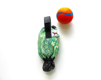 Dog Waste Bag Holder Leash Bag - Eco Friendly reuse your plastic shopping bags - Green Paisley