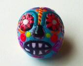Tiny miniature handmade clay sugar skull - OOAK sculpture totem