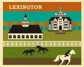 Lexington Print,  Lexington Wall Art, Kentucky Derby Wall Art, Lexington Horizontal,  Lexington Kentucky Derby art gift -  style E8-O-LEX