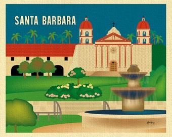 Santa Barbara art,  Santa Barbara map, Old Mission horizontal print, Santa Barbara California, Loose Petals city print art - style E8-O-SANB