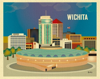 Wichita Skyline Print, Kansas Wall Art, Travel Wall Art - Loose Petals Horizontal Wichita Art Print, Witchita Art Gift  - style E8-O-WIC