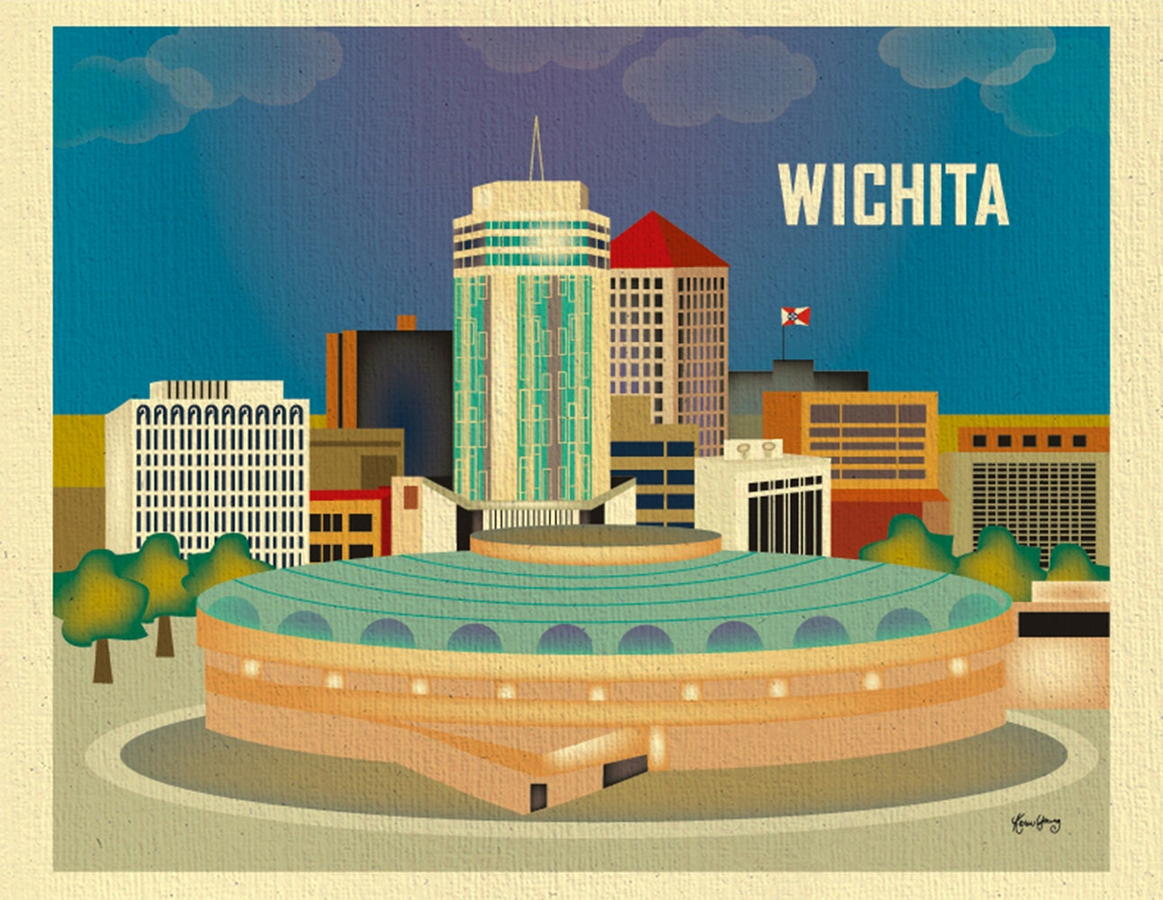 Wichita skyline print kansas wall art travel wall art for Craft stores wichita ks