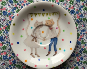 Wedding Cats with Happiness and Polka Dots Vintage Illustrated Plate