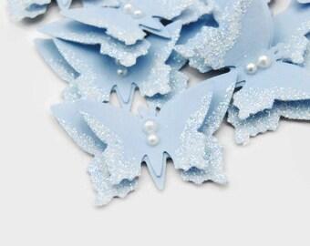 Blue Butterflies Glittered Scrapbooking Embellishment Wedding Embellishments