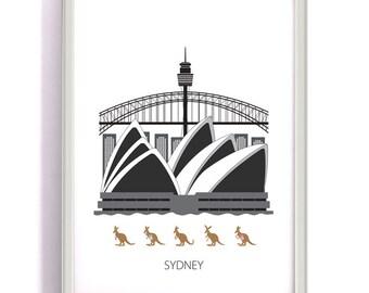Sidney, Digital download, Scandinavian design, skyline, Opera house, harbour bridge, Sydney tower, art