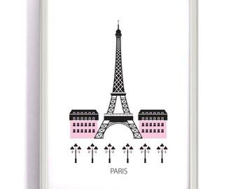 Paris, Digital download, Scandinavian design, skyline, Eiffel tower, art