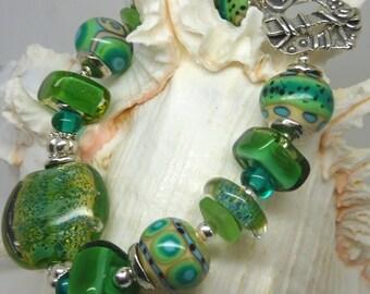 Lampwork Bracelet and Earrings, EMERALD ISLE