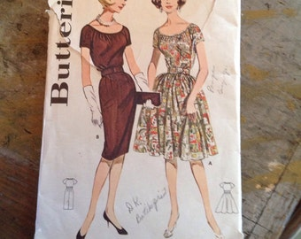 Vintage Butterick 9792 Misses' Scoop Necked Dress Sewing Pattern Size 14 Bust 34
