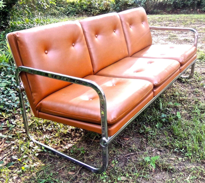 Vintage Chrome Sofa 1960s 70s Mid Century Tufted By Mkmack