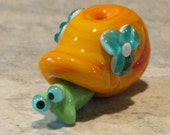 Coral Blue Floral Floral Snail Lampwork Handmade SRA Glass Bead NLC Beads leteam