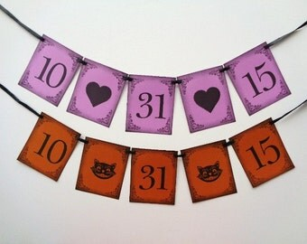 Date Banner Photo Prop Wedding Halloween Party Decoration Black Cat Hearts