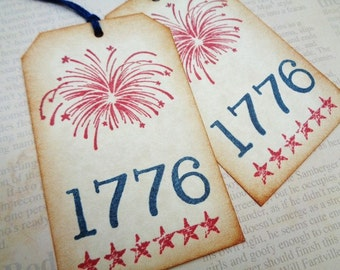Fourth of July Tags 1776 Independence Day Celebration Party Favor Tag Primitive Fireworks Stars