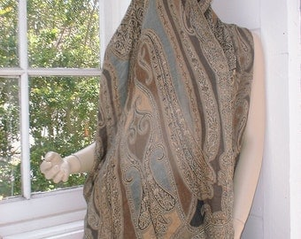 Shawl Scarf Wrap in Pashmira Silk Exotic and Versatile Neutral Colors