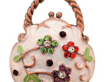 White Enamel Flower Handbag Pin Brooch 1001372