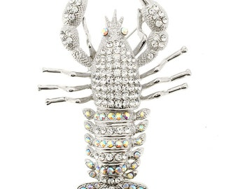 Crystal Lobster Pin Brooch 1002453