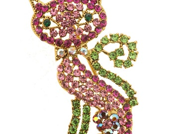 Pink Cat Kitty Crystal Pin Brooch 1013201