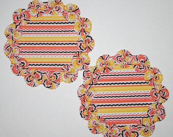 Fabric YoYo Candle Mats In Fall Colors, Halloween, Thanksgiving, Matching Set Of 2