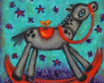 Horse Art acrylic painting by Melissa BEE 4x4 wood block