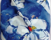 Silk scarf Night Magnolia crepe large long painting unique navy white