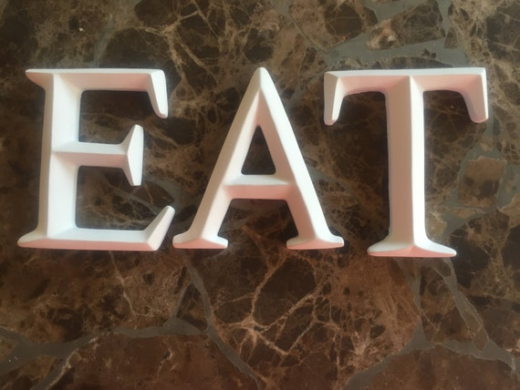 Kitchen wall decor eat letters utensil wall by daintydamselfli for Kitchen letters decoration