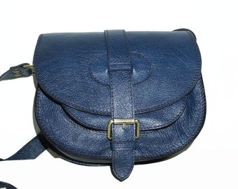Blue Leather Saddle BAG MESSENGER Cross-body Purse Goldmann Size S
