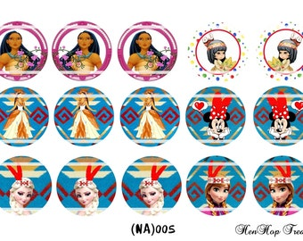 "Set of 15  1"" Digital Bottle Cap Images (NA 005) Princess"
