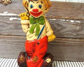 Creepy Vintage Two Faced Clown Bank, Happy Sad Face Retro Circus Clown Coin Bank Figurine
