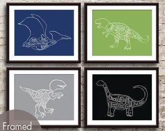 Dinosaur Butcher Diagram Series - Set of 4 Art Prints (Featured in Navy, Grass Green, Dolphin and Black) Dino Art Print