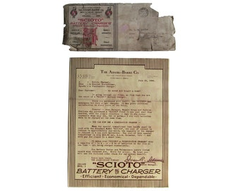 1926 The Adams-Barre Co. Letter / Envelope for a Battery Charger