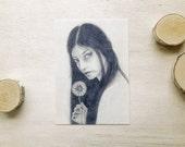 Sending a Flower to You - Quiry Art Postcard - Small Art Print