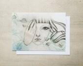 I Am Who I Am - Quirky Art Postcard - Small Art Print