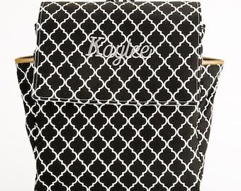 Backpack, Diaper Bag Backpack, Custom Backpack, Black and White Backpack, Embroidered Backpack, Baby Backpack, Leather Backpack