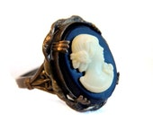 """Vintage Uncas Art Nouveau Brass Cameo Ring - Black and White Molded Celluloid - 1"""" High - Adjustable"""