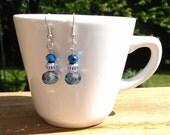 Dainty Blue and Silver Glass Bead Dangle Earrings Women Teen Girls