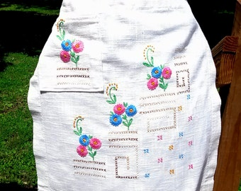 Vintage Table Runner Apron Upcycled Vintage Linens Textiles Pink Blue
