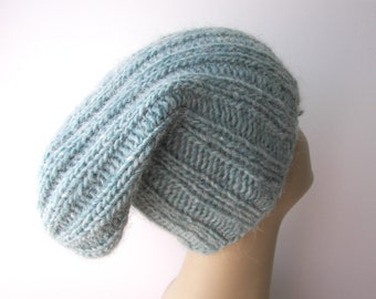 ICELANDIC WOOL Chunky Hand Knit Beanie Ski Hat in Arctic ICE Blue / Lopi yarn Knit Slouch hat / fold up knit hat