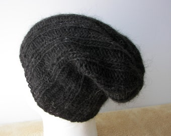ICELANDIC WOOL Chunky Hand Knit Beanie Ski Hat in Charcoal BLACK / Lopi yarn Knit Slouch hat / fold up knit hat
