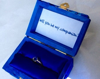 Police box Wedding Ring Box With LED Light Handmade Police Box Engagement Ring Box Police Box Proposal Box,  Proposal Box, Made in USA