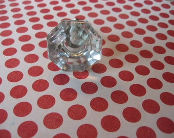 2 Glass Octagonal Clear Knobs with Silver Bases Decorative Glass Hardware B-24