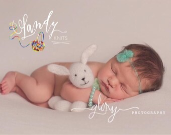 Tiny stuffed bear or bunny. Newborn photo prop