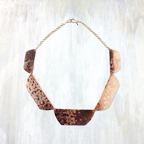 Bronze and Silver Hammered Collar Necklace, Shale Collar Necklace